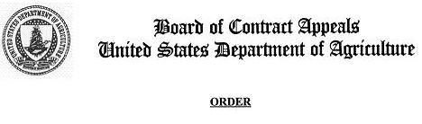 USDA Seal, Board of Contract Appeals, United States Department of Agriculture, Order